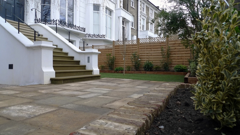 reclaimed-yorkstone-patio-portland-stone-steps-new-fence-and-front-garden-london.JPG