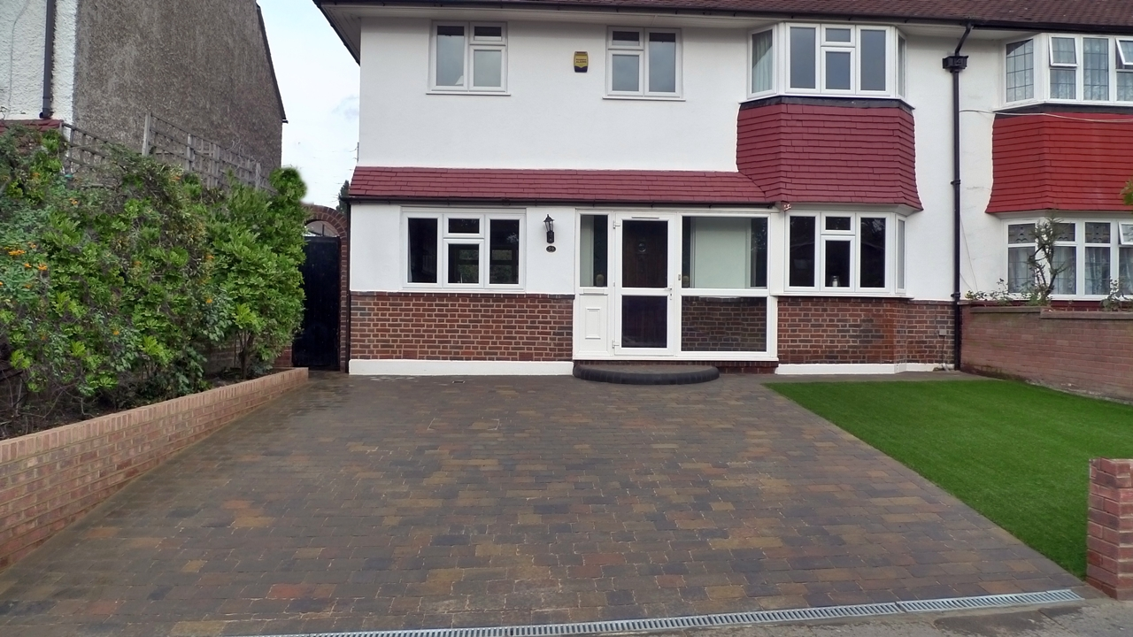 New brick wall double block paving driveway artificial grass ultra