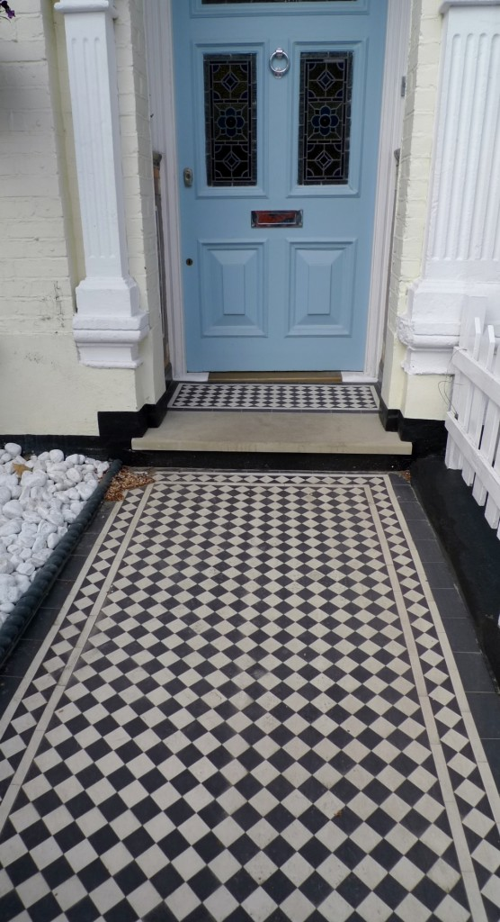 bullnose yorkstone step black and white victorian mosaic tile path balham london