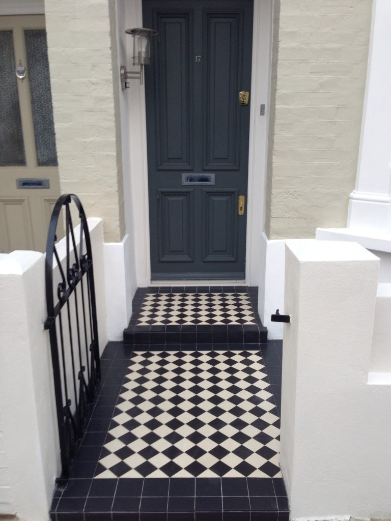 black and white mosaic tile installation london