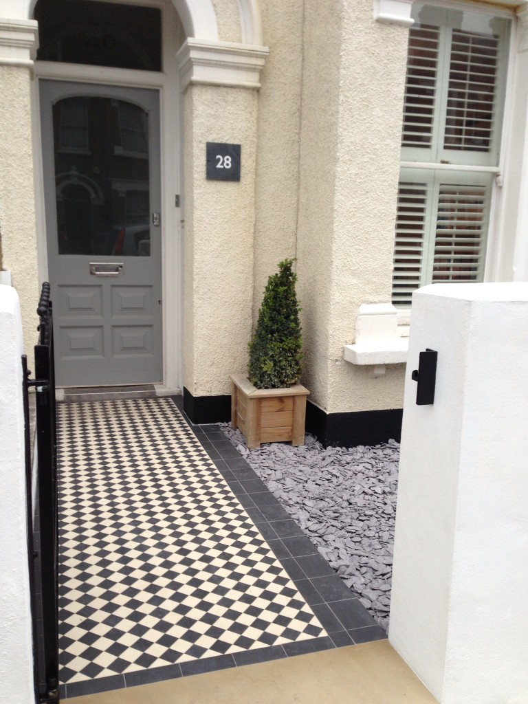 classic black and white victorian mosaic tile path dulwich london
