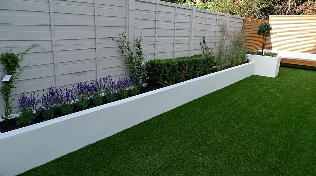 easy lawn grass raised beds modern painted fence small garden design idea london