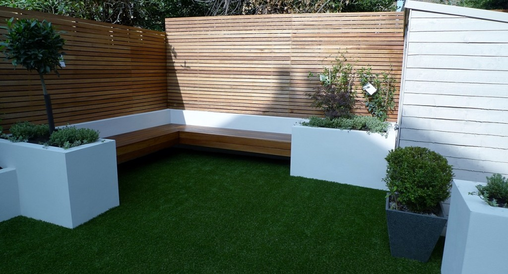 artificial easy grass lawn turf hardwood privacy screen and bench