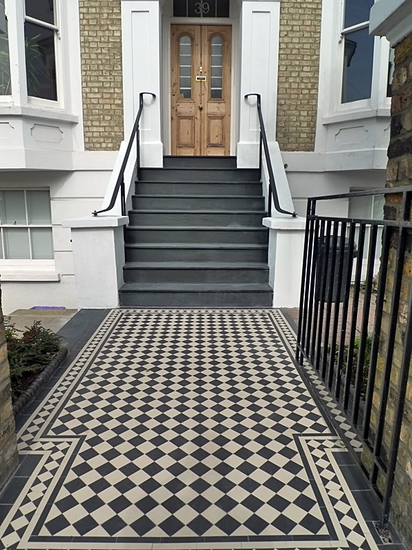 black and white mosaci london tile path with pencil edged slate steps wimbledon london
