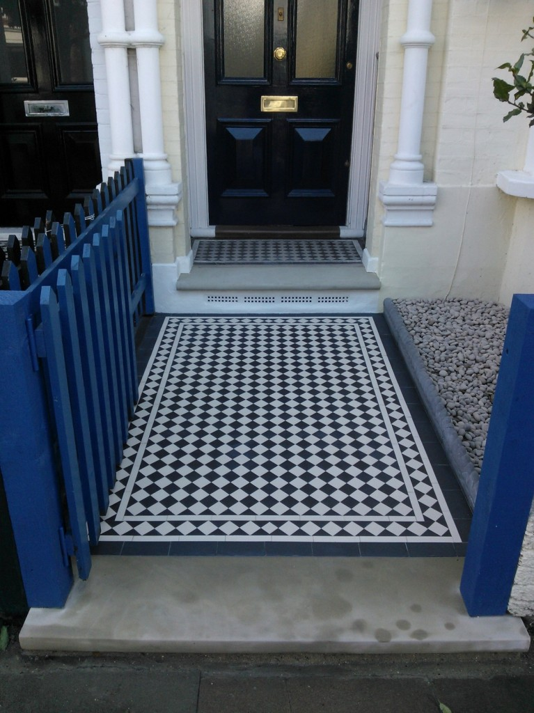 black and white victorian mosaic tile path balham tooting london