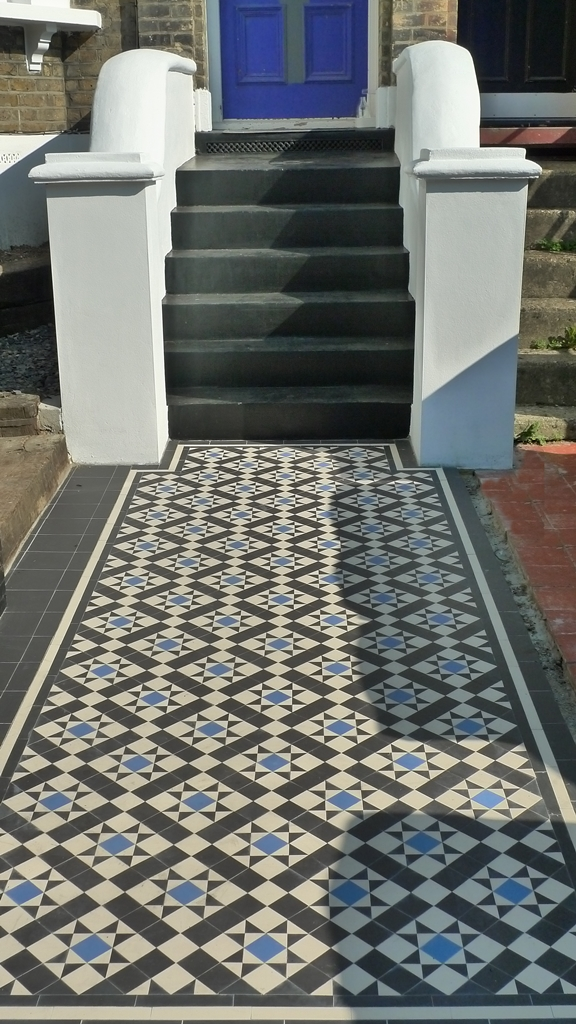 black white and blue victorian mosaic tile path front garden dulwich london