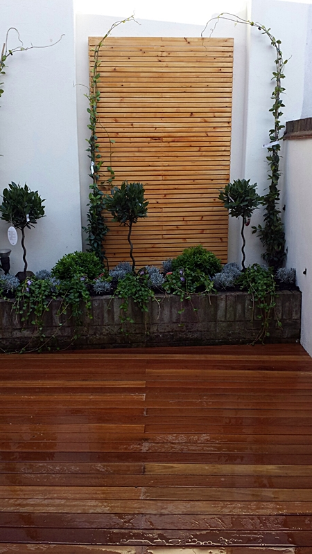 brick wall hardwood decking small courtyard garden dulwich london