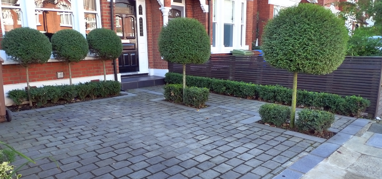 New front garden car parking space london garden design for Paved front garden designs