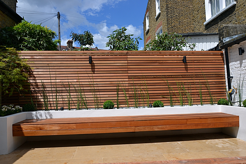 hardwood screen trellis raised beds and floating bench london