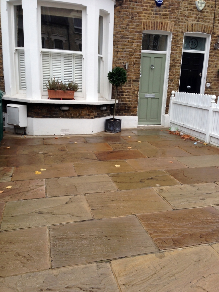 Indian sandstone flaf=gstone paving driveway front garden london