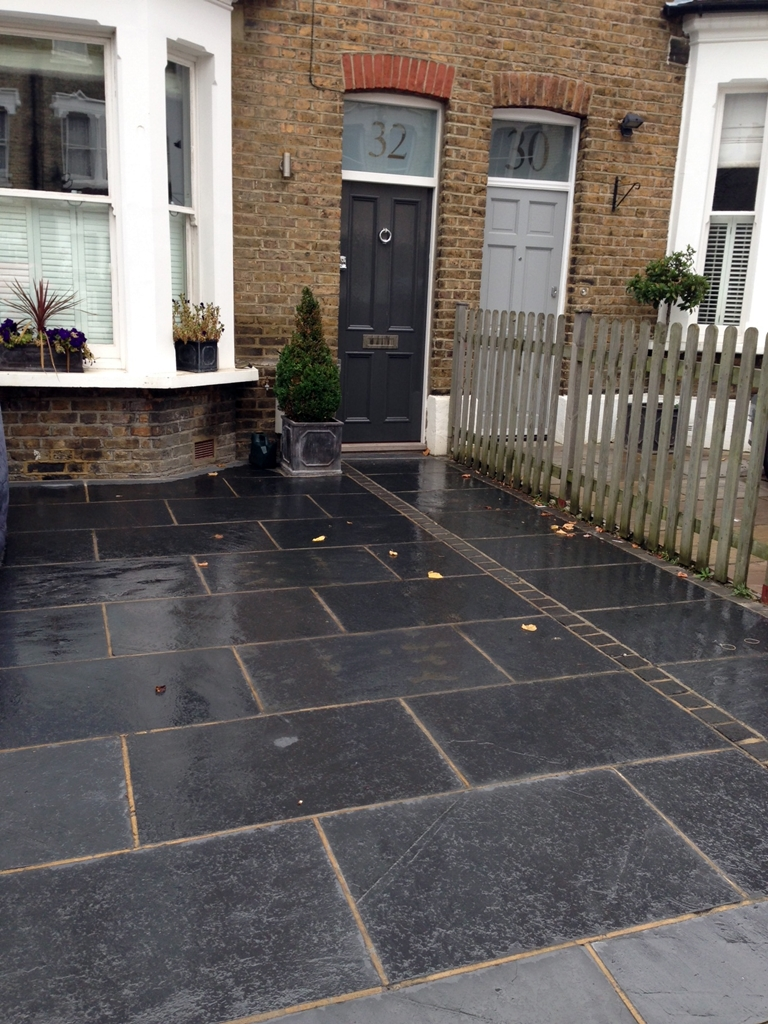 front garden slate paving driveway london