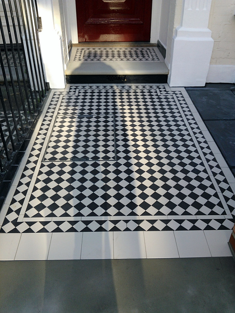 victorian mosaic front path with bullnose yorkstone porch south london