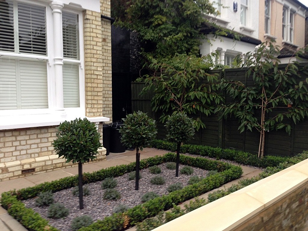 classical formal planting new garden wall paving path london