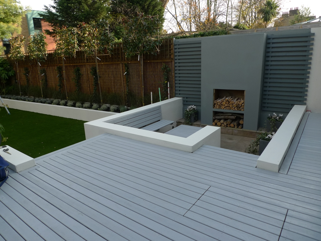 Modern garden design ideas london london garden design for Garden decking images uk