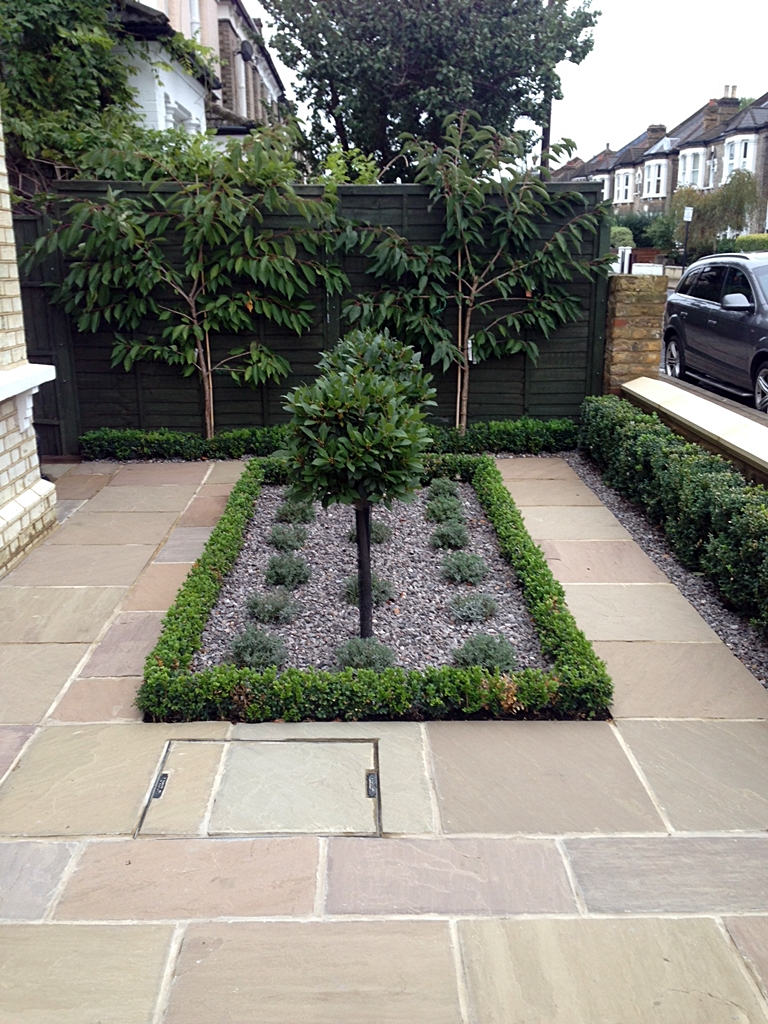 Balham front garden london london garden design for Paved garden designs