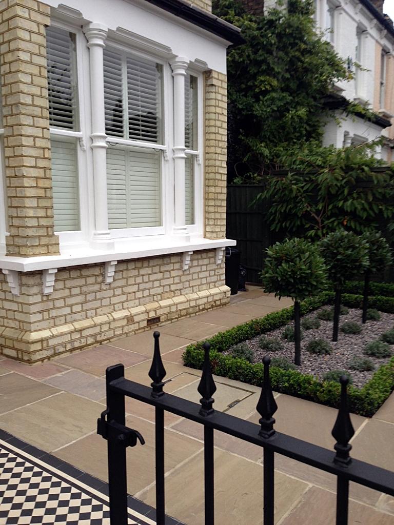 victorian mosaic tile path sandstone paving and formal planting balham london