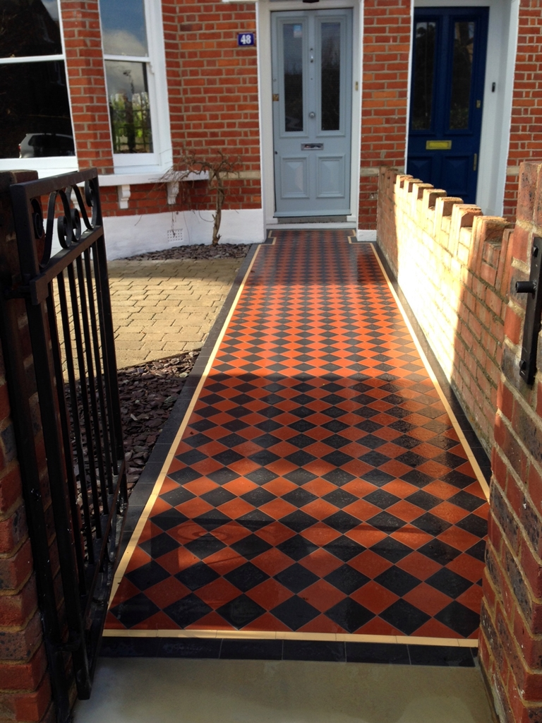 100mm black and red chequer board victorian mosaic tile path dulwich london