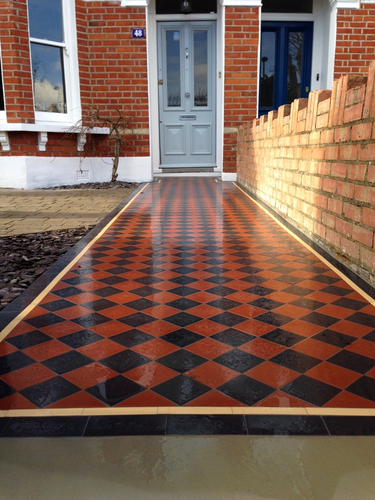black and red victorian mosaic tile path with cream and black border dulwich london