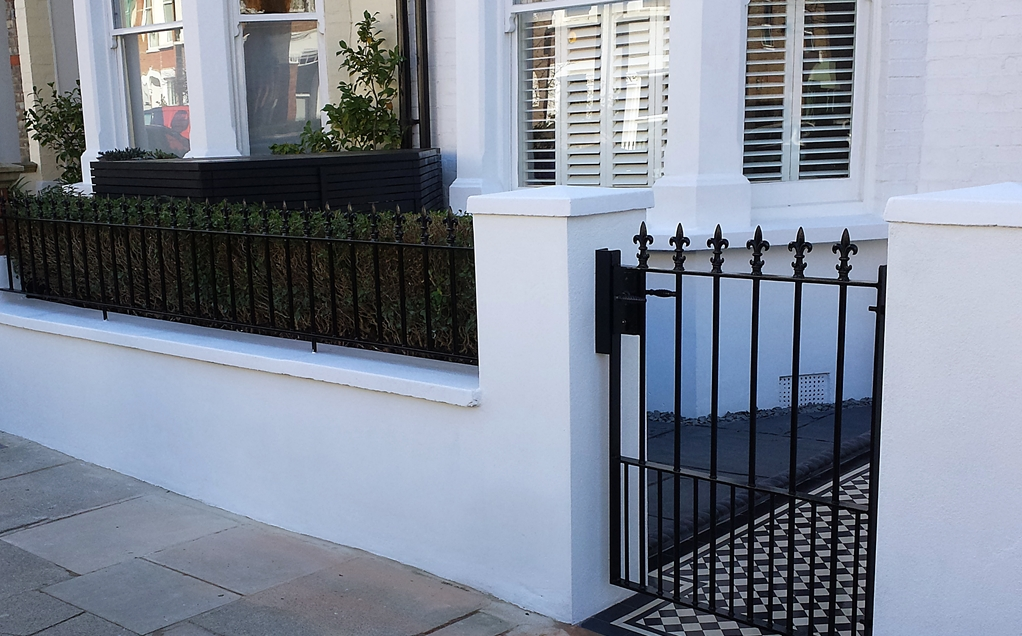 front garden wall and metal gate and rail