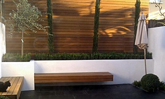 hardwood horizontal slatted privacy screen trellis london