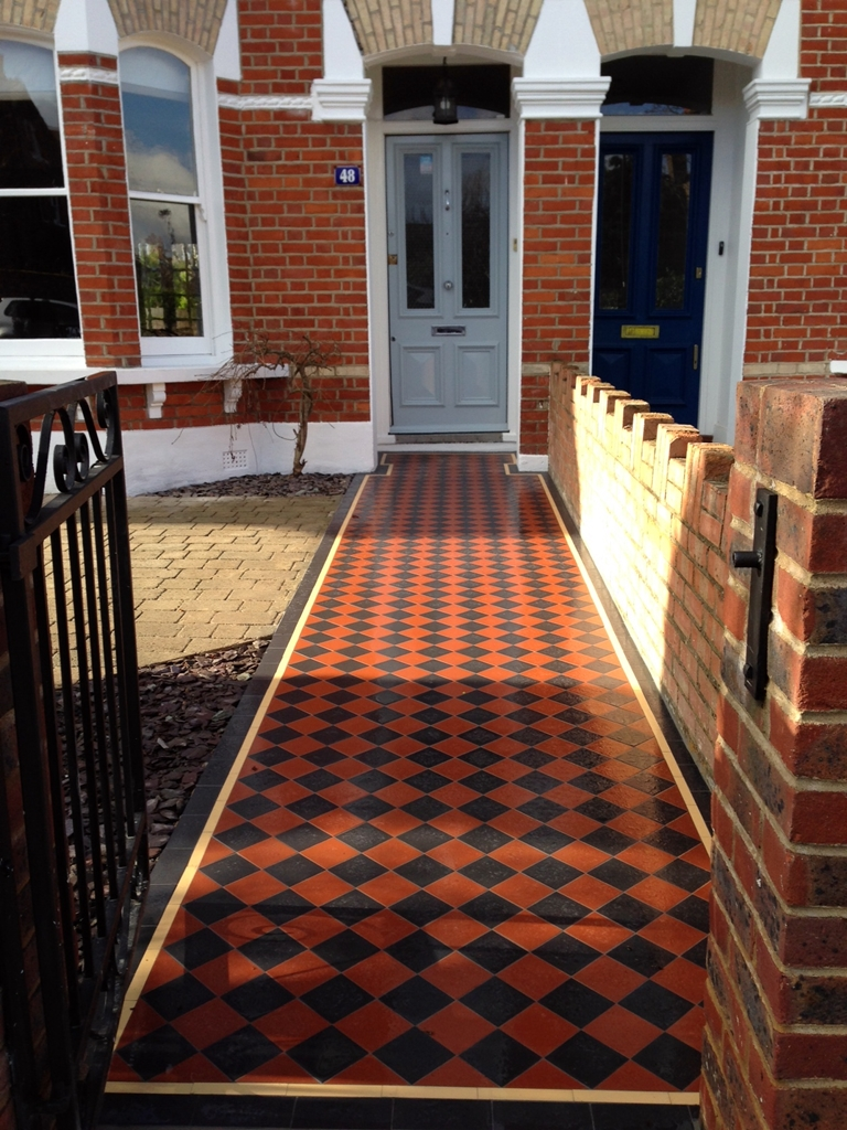 victorian mosaic front garden tile path in black and terracotta with cream and black border dulwich london