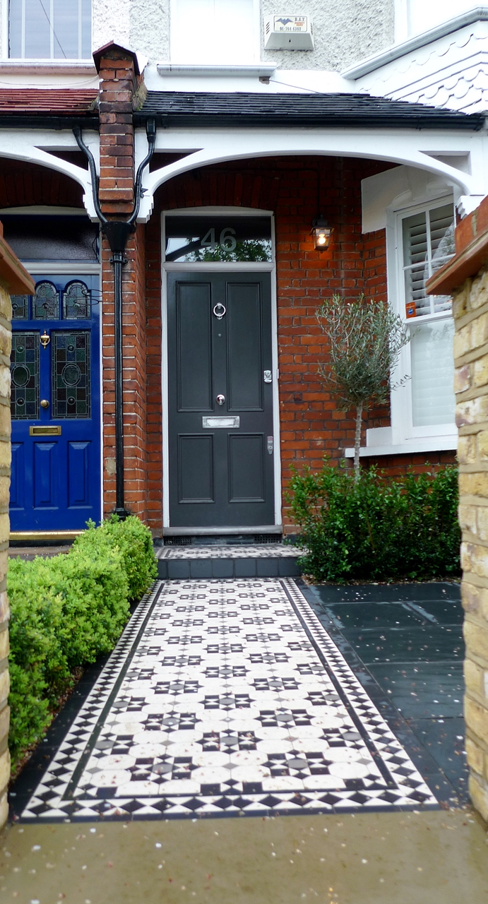 Bespoke front garden bike store paving slate patio front Victorian house front
