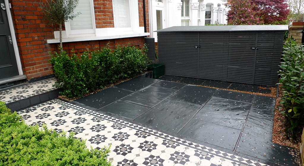 Bespoke front garden bike store paving slate patio front for Paved front garden designs