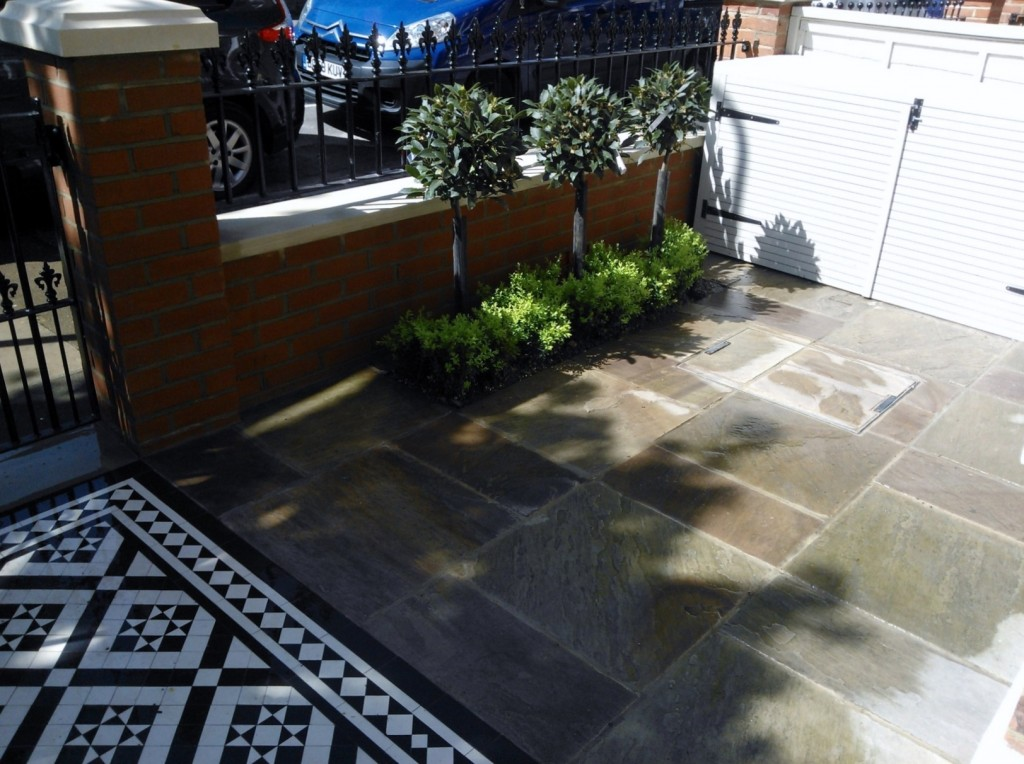 black and white victorian mosaic tile path red brick garden wall wrought iron rail and gate bespoke bin store london (12)