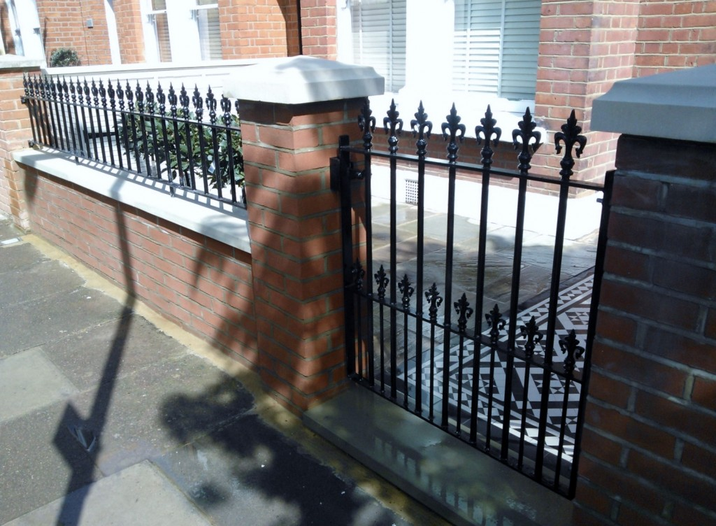 black and white victorian mosaic tile path red brick garden wall wrought iron rail and gate bespoke bin store london (3)