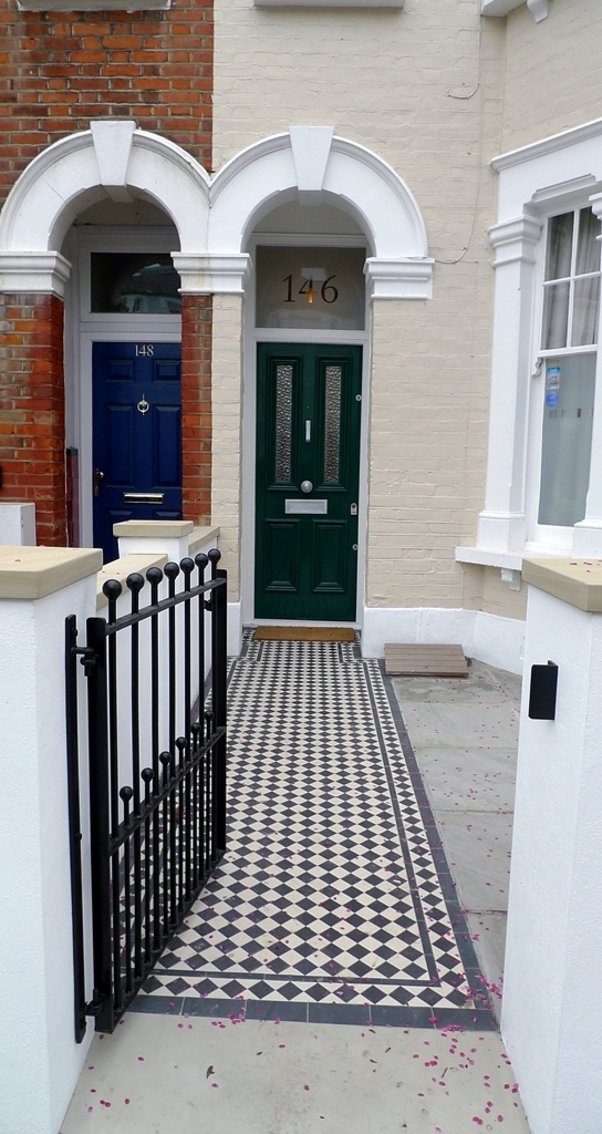 classic 50 balck and white mosaic tile path new garden wall with york stone caps metal wrought iron rail and gate balham london (1)