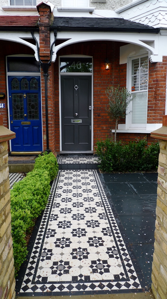 classic victorian mosaic tile path wimbledon yorkstone entrance stone london