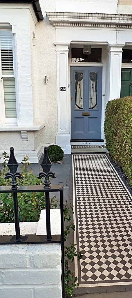 victorian front garden design london black and white mosaic tile path