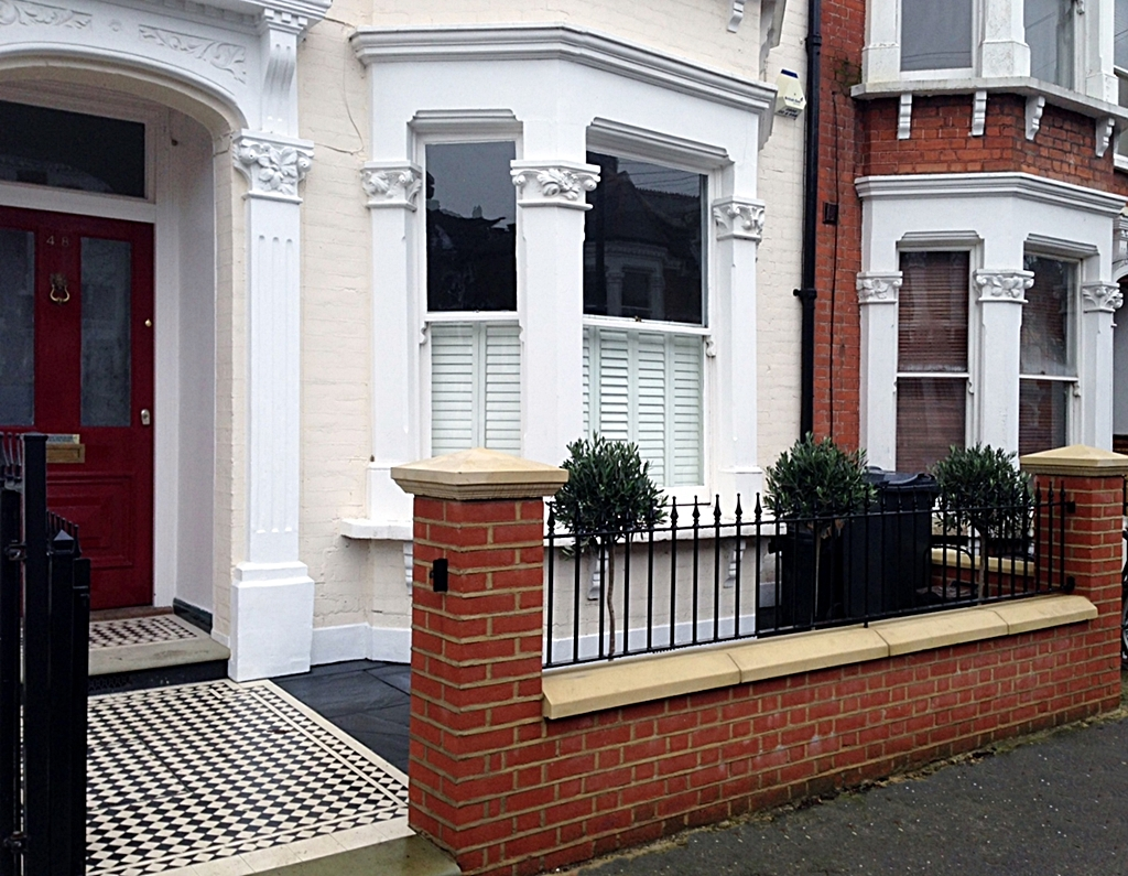 victorian front garden design london mosaic tile path red brick garden wall and natural stone caps