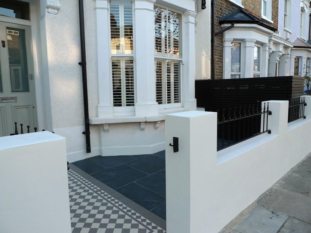 victorian front garden design london render plaster block wall slate paving bin bike store bespoke grey and white mosaic