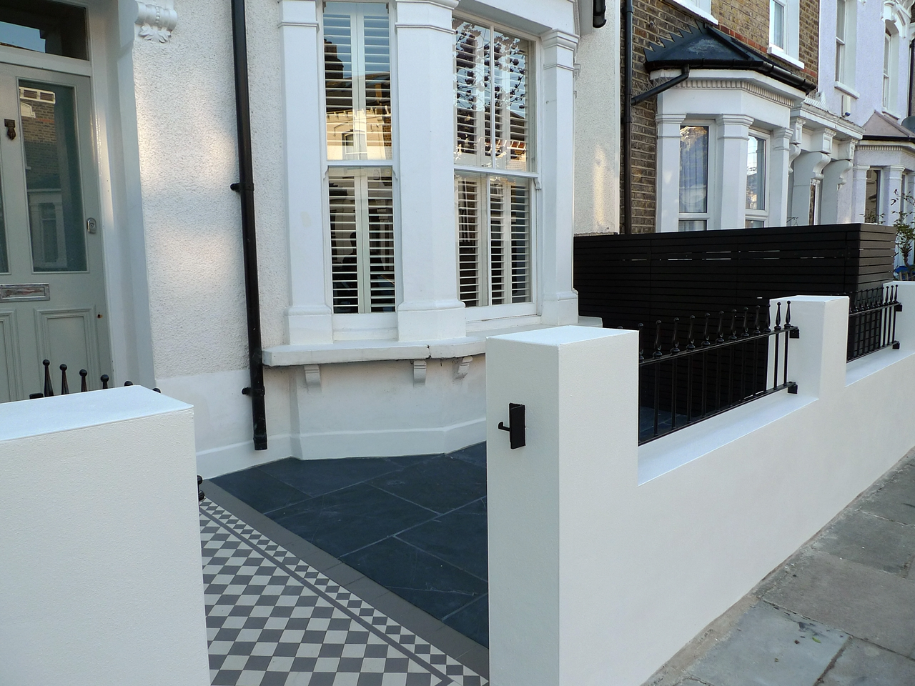 victorian front garden design london render plaster block wall slate paving bin bike store bespoke grey and white mosaicjpg 1280960 pinterest - Front Garden Ideas London