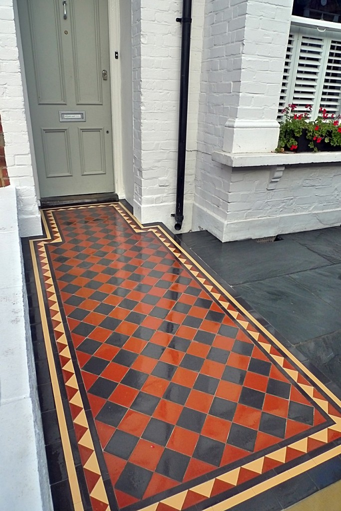 victorian front garden design london slate paving red and black tiles mosaic
