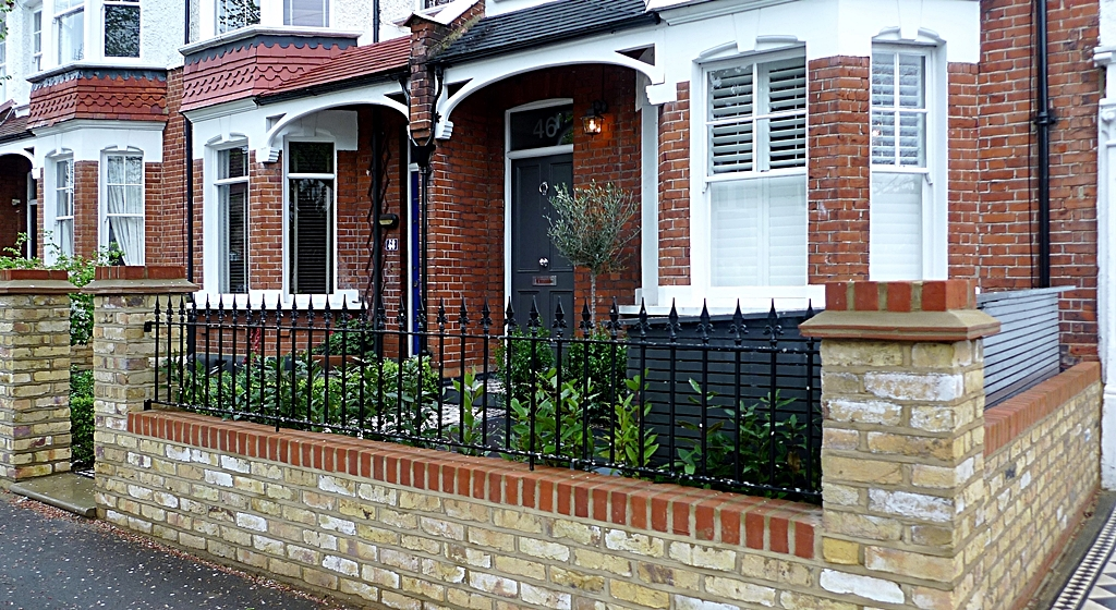victorian front garden design london stock brick wall and railjpg