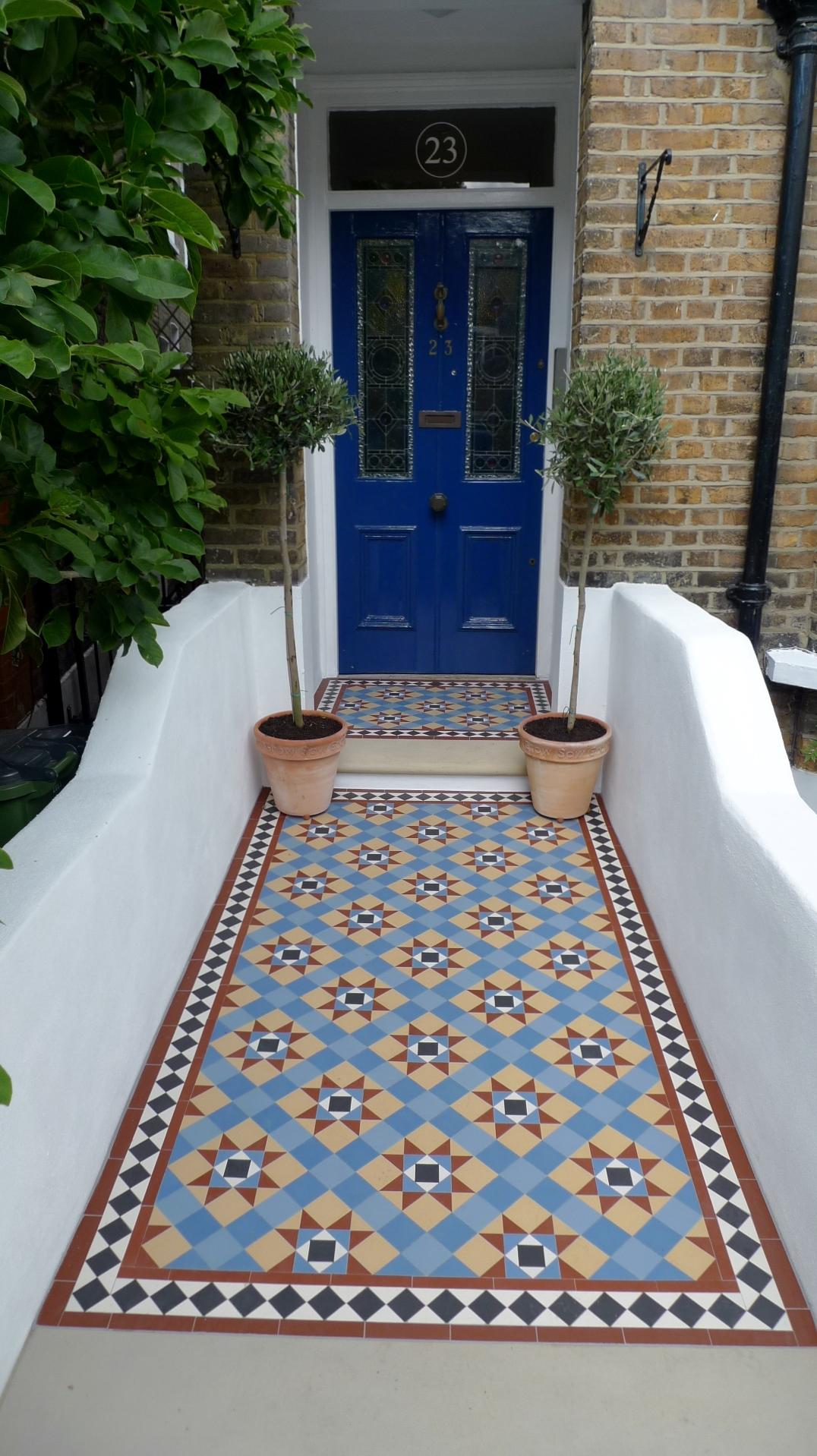 Victorian Multi Coloured Mosaic Garden Tile Path In