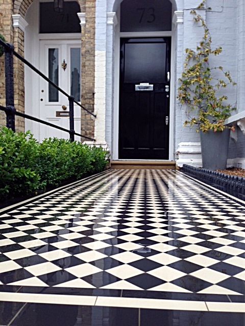 balham black and white victorian mosaic tile path sandstone paving yellow brick london wall and imperial metal iron gate (2)