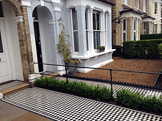 balham black and white victorian mosaic tile path sandstone paving yellow brick london wall and imperial metal iron gate (5)
