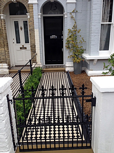 balham black and white victorian mosaic tile path sandstone paving yellow brick london wall and imperial metal wrought iron gate (2)