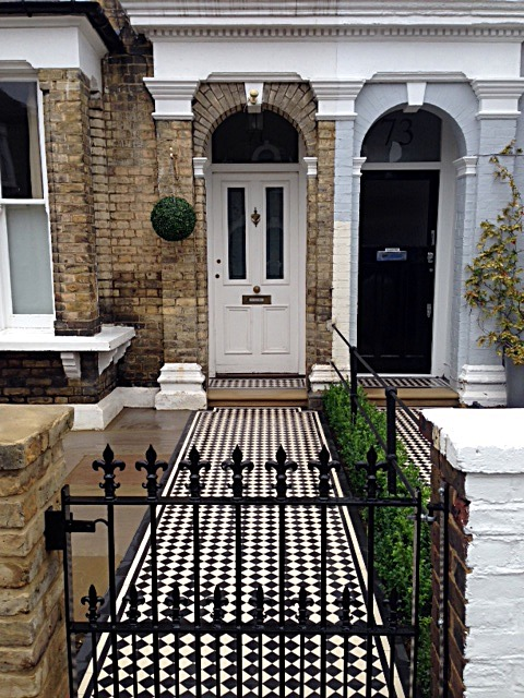 balham black and white victorian mosaic tile path sandstone paving yellow brick london wall and imperial metal wrought iron gate (3)