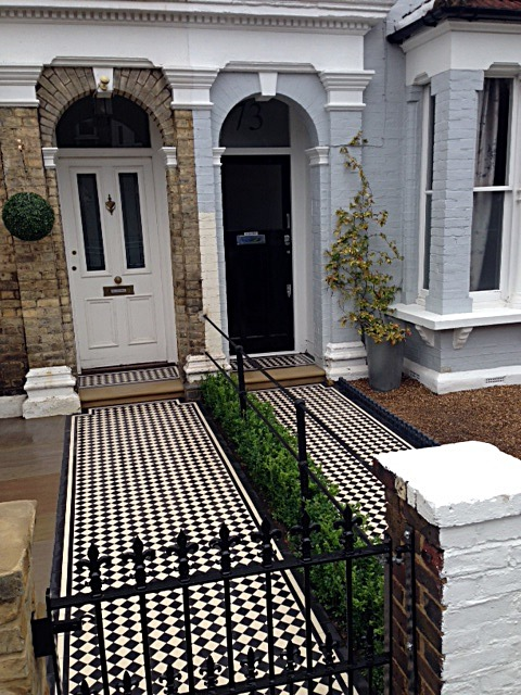 balham black and white victorian mosaic tile path sandstone paving yellow brick london wall and imperial metal wrought iron gate (4)