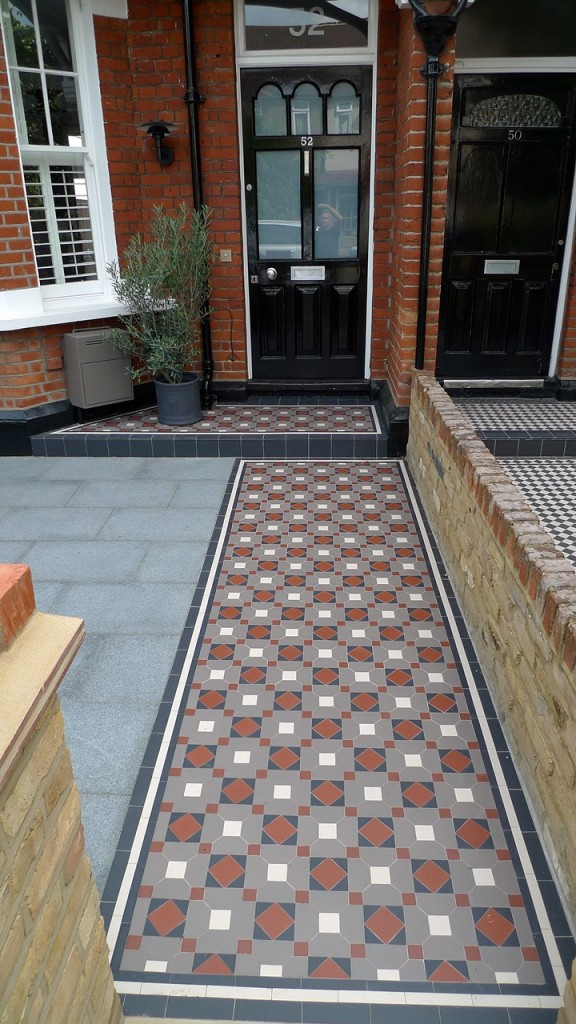 victorian mosaic tile garden path and porch balham london