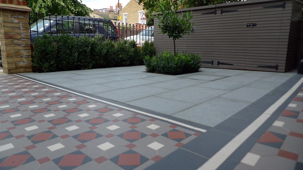 victorian mosaic tile path granite paving bespoke bike store granite paving metal wrought iron rail topiary hedge wimbledon london sw19