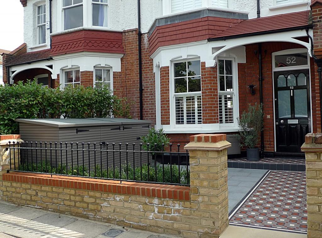 victorian mosaic tile path yellow brick front garden wall granite paving bin bike store metal rail yorkstone paving
