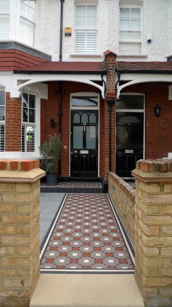 victorian mosaic tile path yorkstone entrance stone wimbledon london