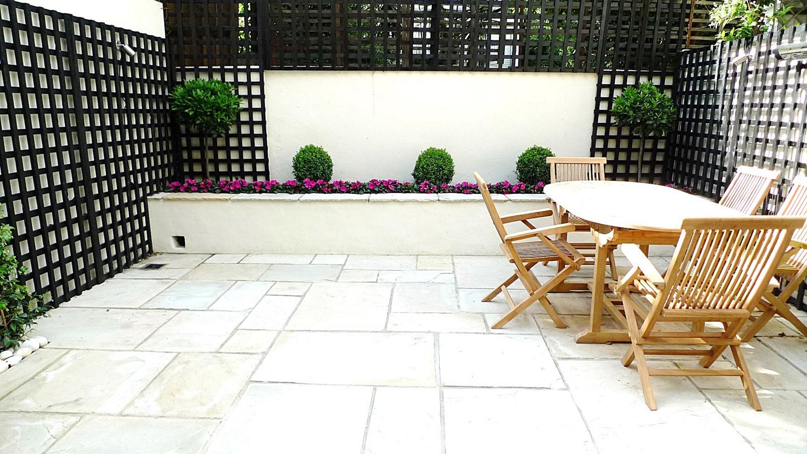 Sandstone Paving Patio Raised Beds Classic Modern Planting