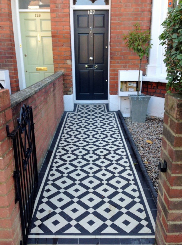black and white victorian mosaic tile path balham york stone london (1)