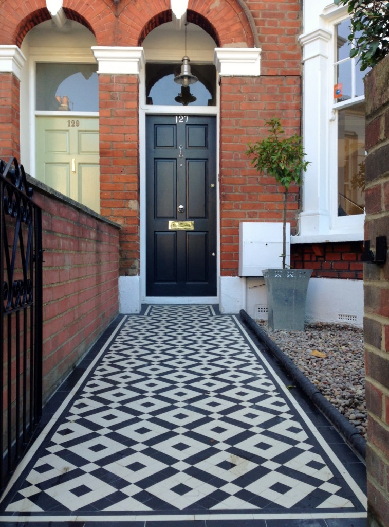 black and white victorian mosaic tile path balham york stone london (3)